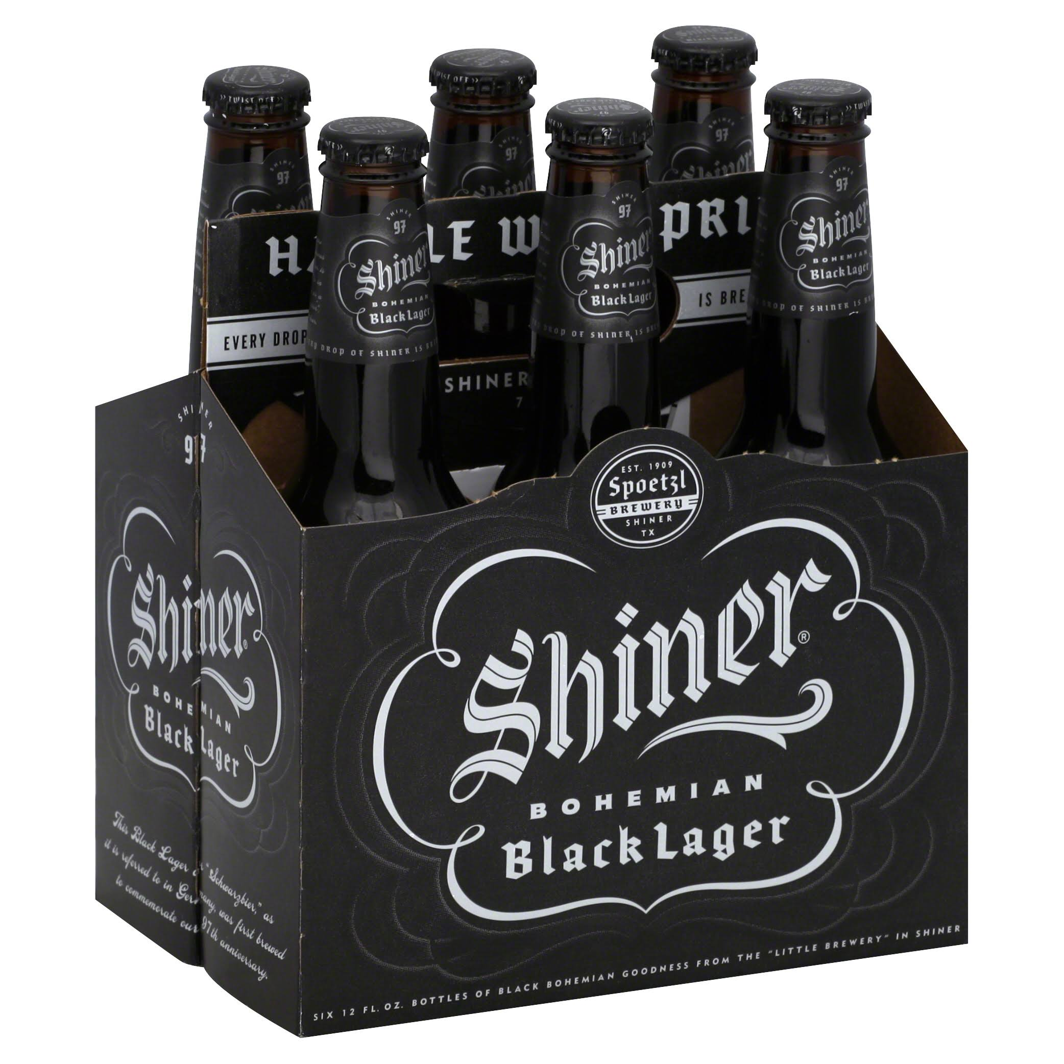 Shiner Bohemian Beer - Black Lager, 6 pack, 12 floz