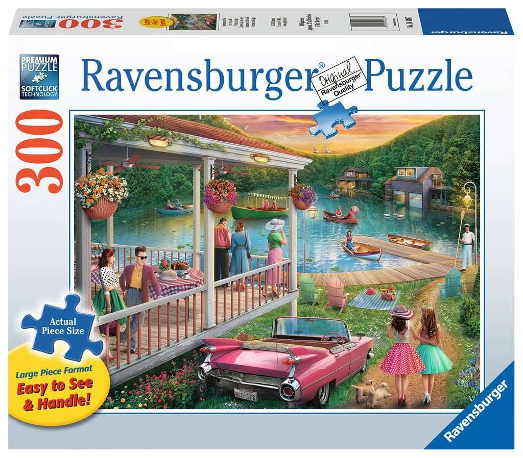 Ravensburger Adult Jigsaw Puzzle Summer at The Lake 300 Piece, Age 12 +