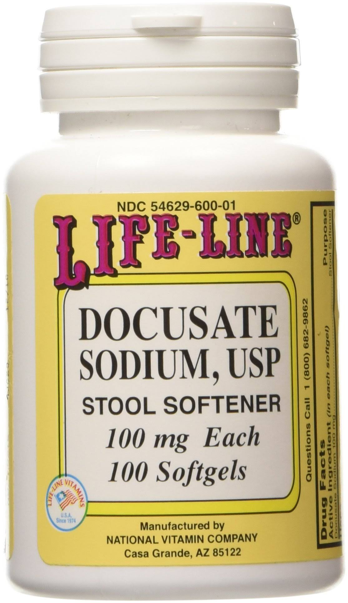 Life Line Docusate Sodium Stool Softener - 100ct