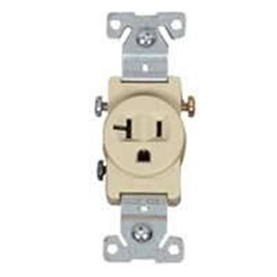 Cooper Wiring Tamper Resistant 2-Pole Single Receptacle - Ivory, 20amp