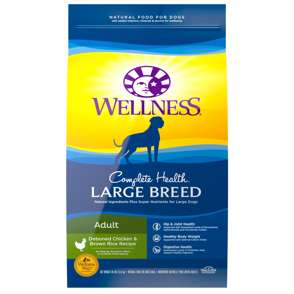 Wellness Complete Health Natural Dry Large Breed Dog Food - Chicken and Rice, 15lb