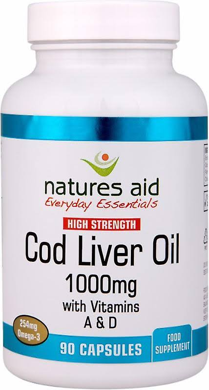 Natures Aid Cod Liver Oil - 90 Capsules, 1000mg