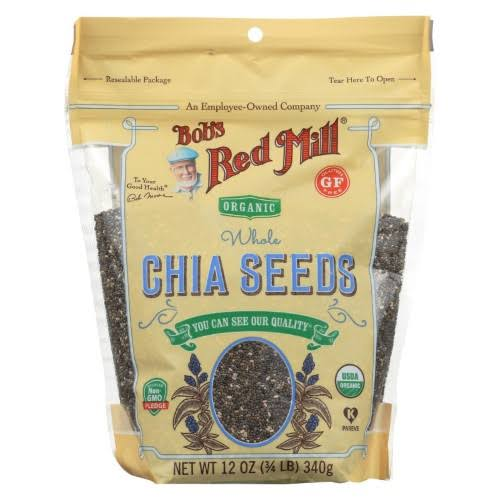 Bobs Red Mill Chia Seeds, Organic, Whole - 12 oz