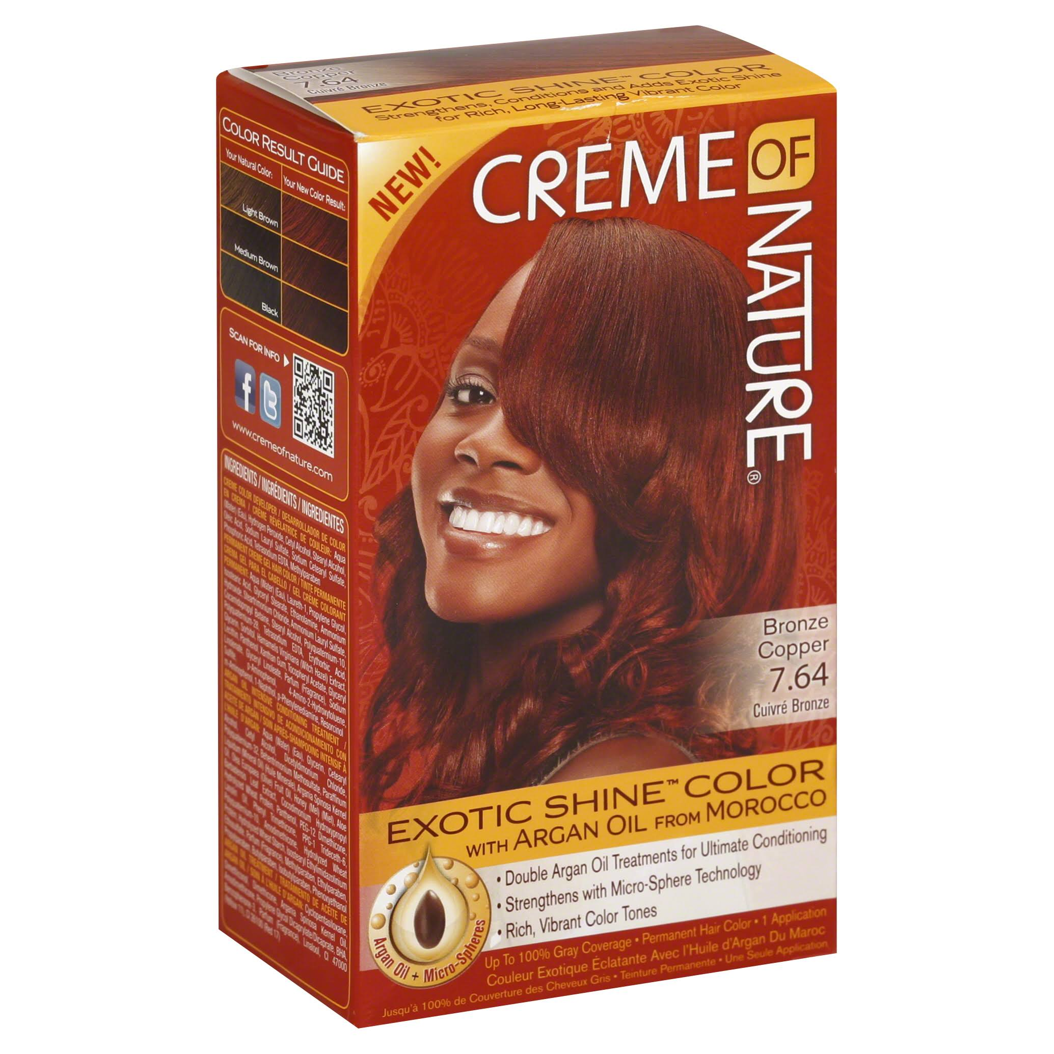 Creme of Nature Exotic Shine Color Permanent Hair Color - 7.64 Bronze Copper