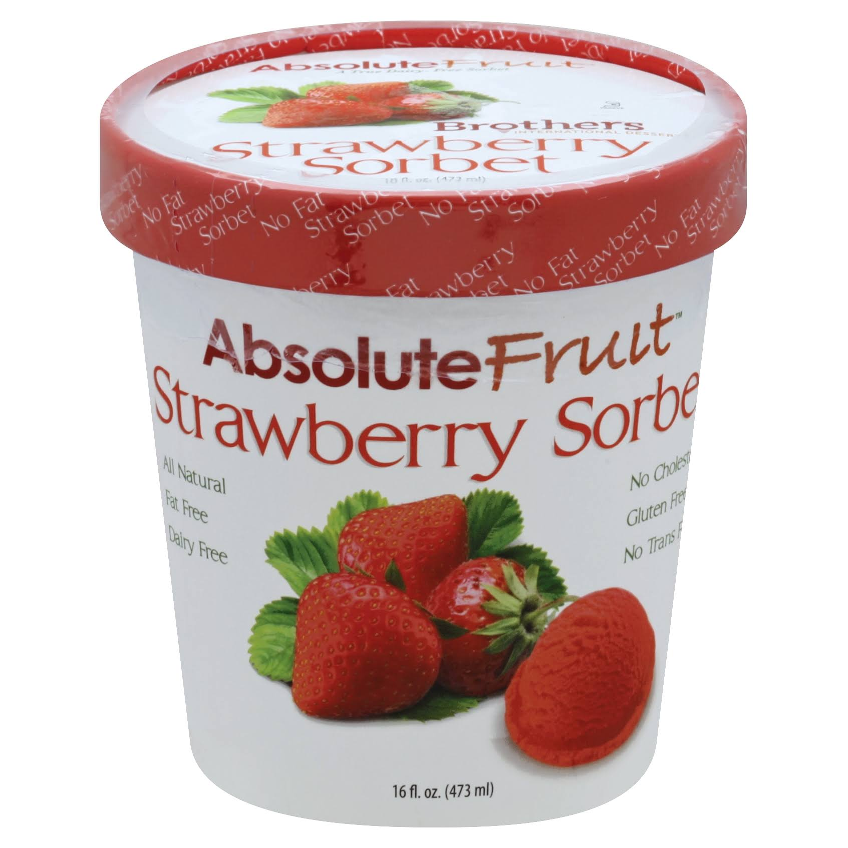 Absolute Fruit Sorbet, Strawberry - 16 fl oz