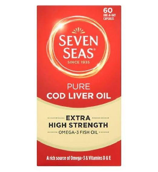 Seven Seas Cod Liver Oil Plus Omega-3 Fish Oil - Maximum Strength, 60 Capsules