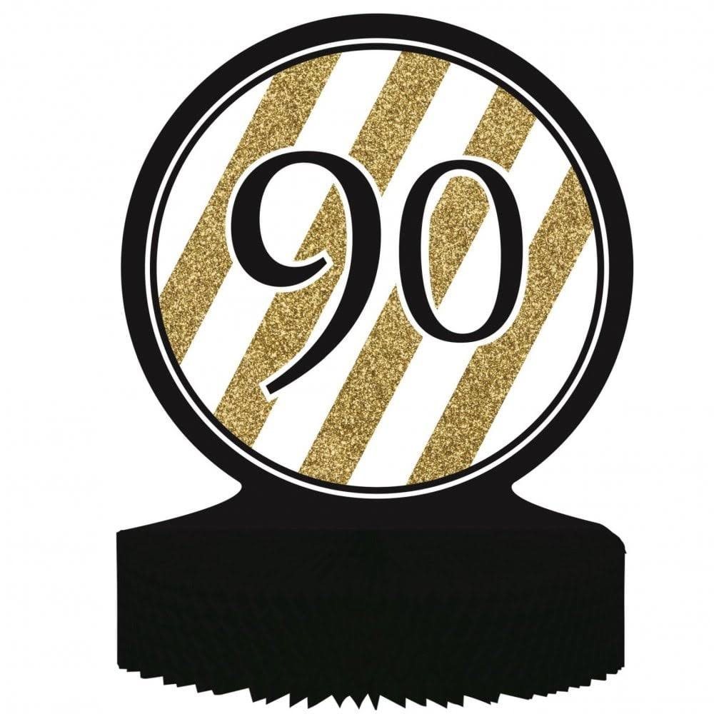 Creative Converting 90th Birthday Centerpiece - Black and Gold
