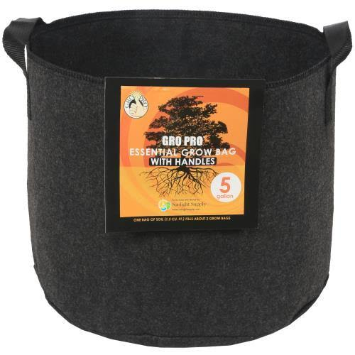 Gro Pro Essential Round Fabric Pot - Black, 5gal