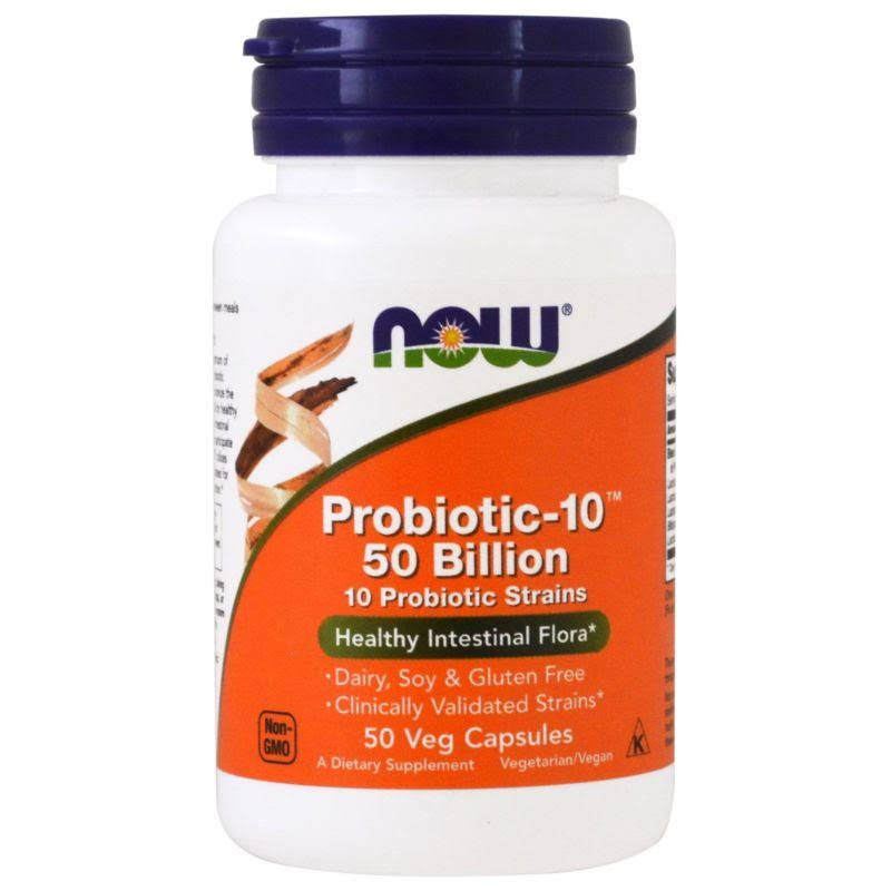 NOW Foods Probiotic-10 50 Billion Dietary Supplement - 50 Vegetable Capsules