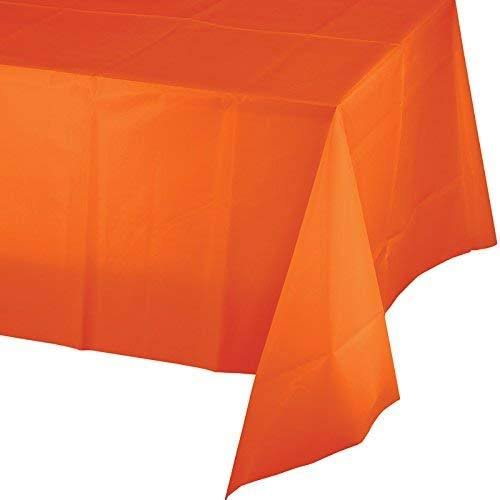 "Creative Converting Touch of Color Plastic Table Cover - Sunkissed Orange, 54"" x 108"""
