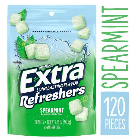 Extra Refreshers Gum, Sugar Free, Spearmint - 120 gums, 9.65 oz