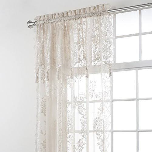 Stylemaster Home Products Renaissance Home Fashion Carly Lace Panel with Attached Valance, 56 by 84-inch Plus 17-Inch, Linen
