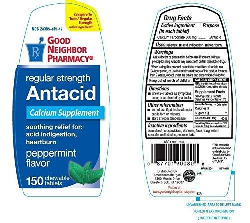 Good Neighbor Pharmacy Antacid Regular Strength (Compare to Tums Regular Strength Active Ingredient)