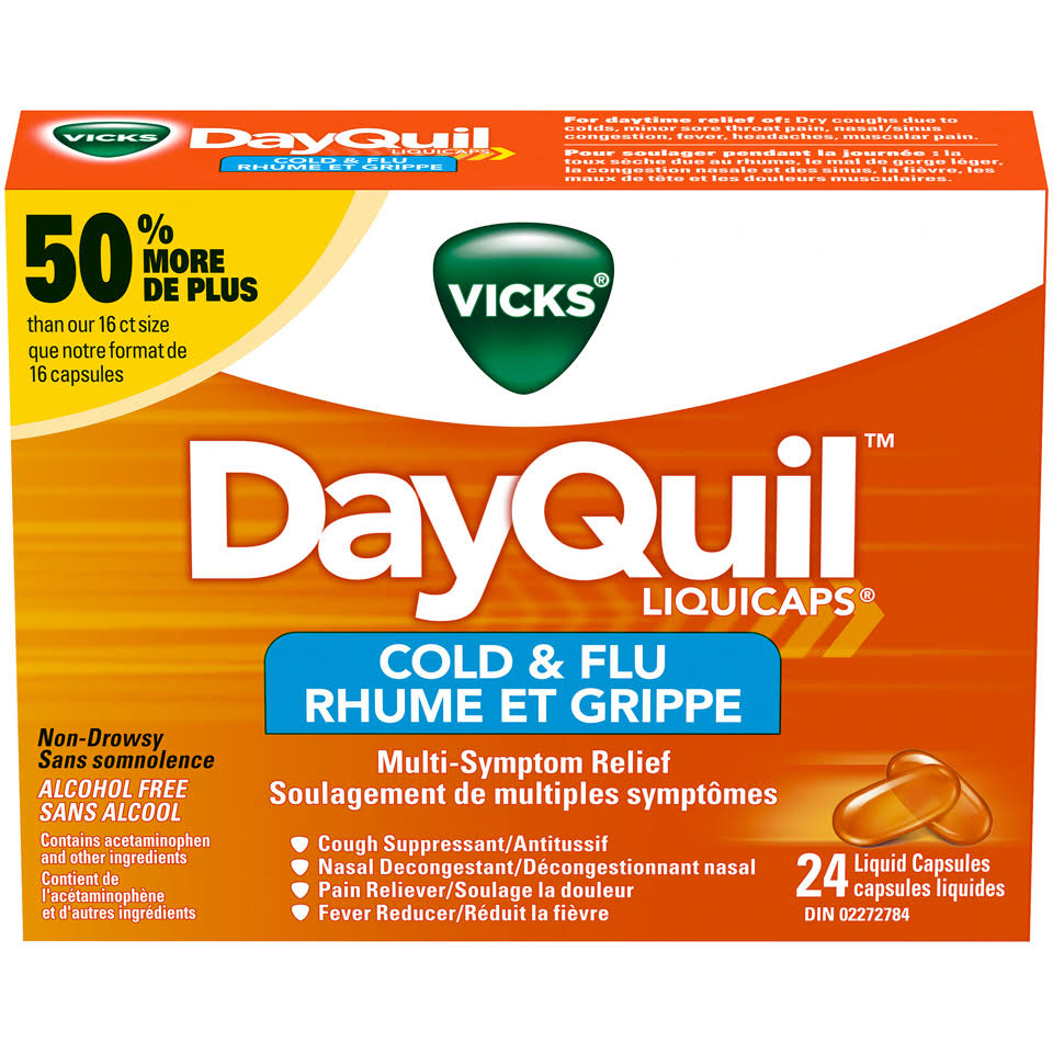 Vicks Dayquil Cold and Flu Liquid Capsules - 24ct