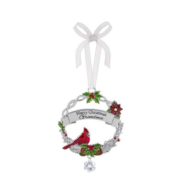 Ganz EX25452 Christmas Cardinal Ornament - Merry Christmas Grandma