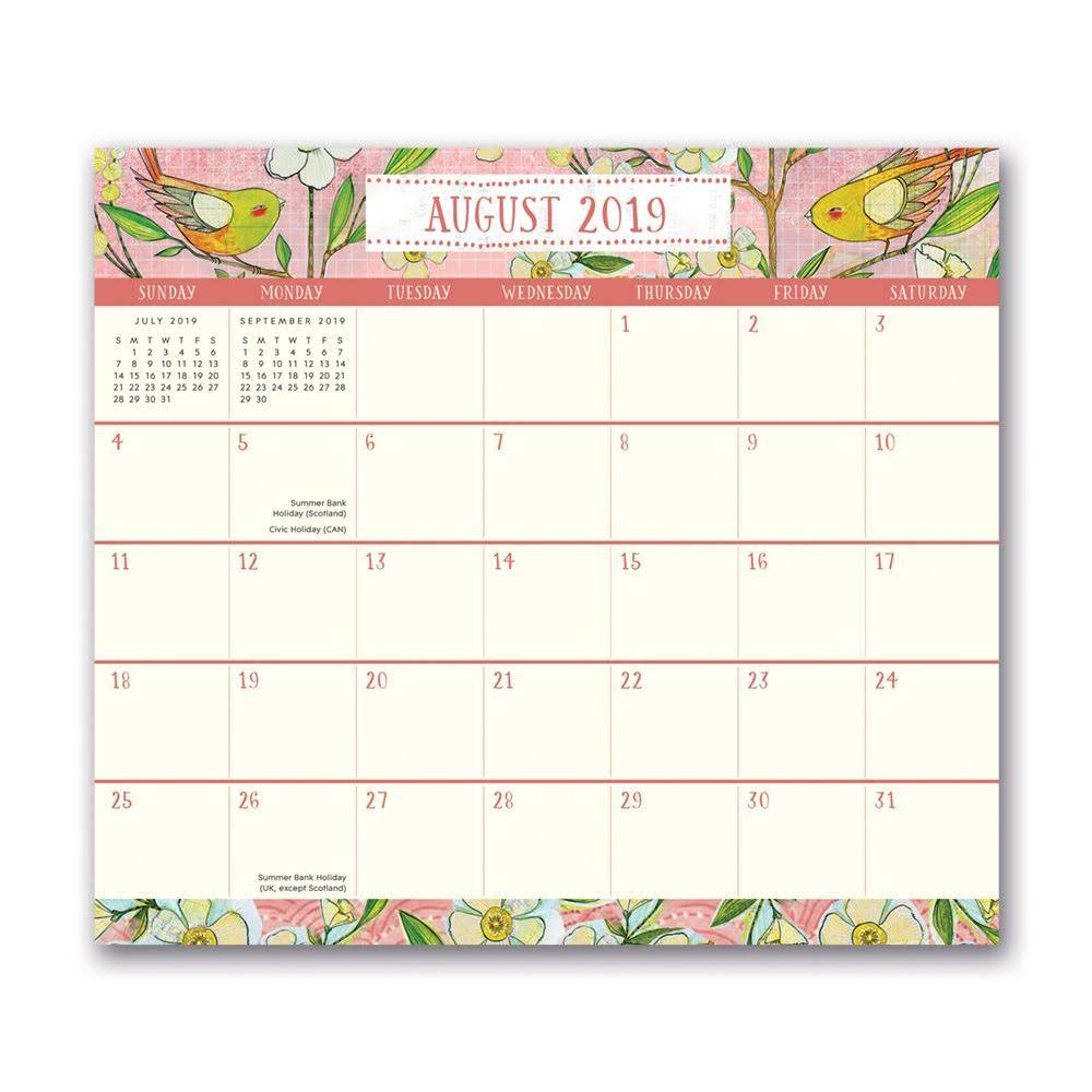 Orange Circle Studio 2020 Magnetic Monthly Calendar Pad, August 2019 - December 2020, Where Love Grows