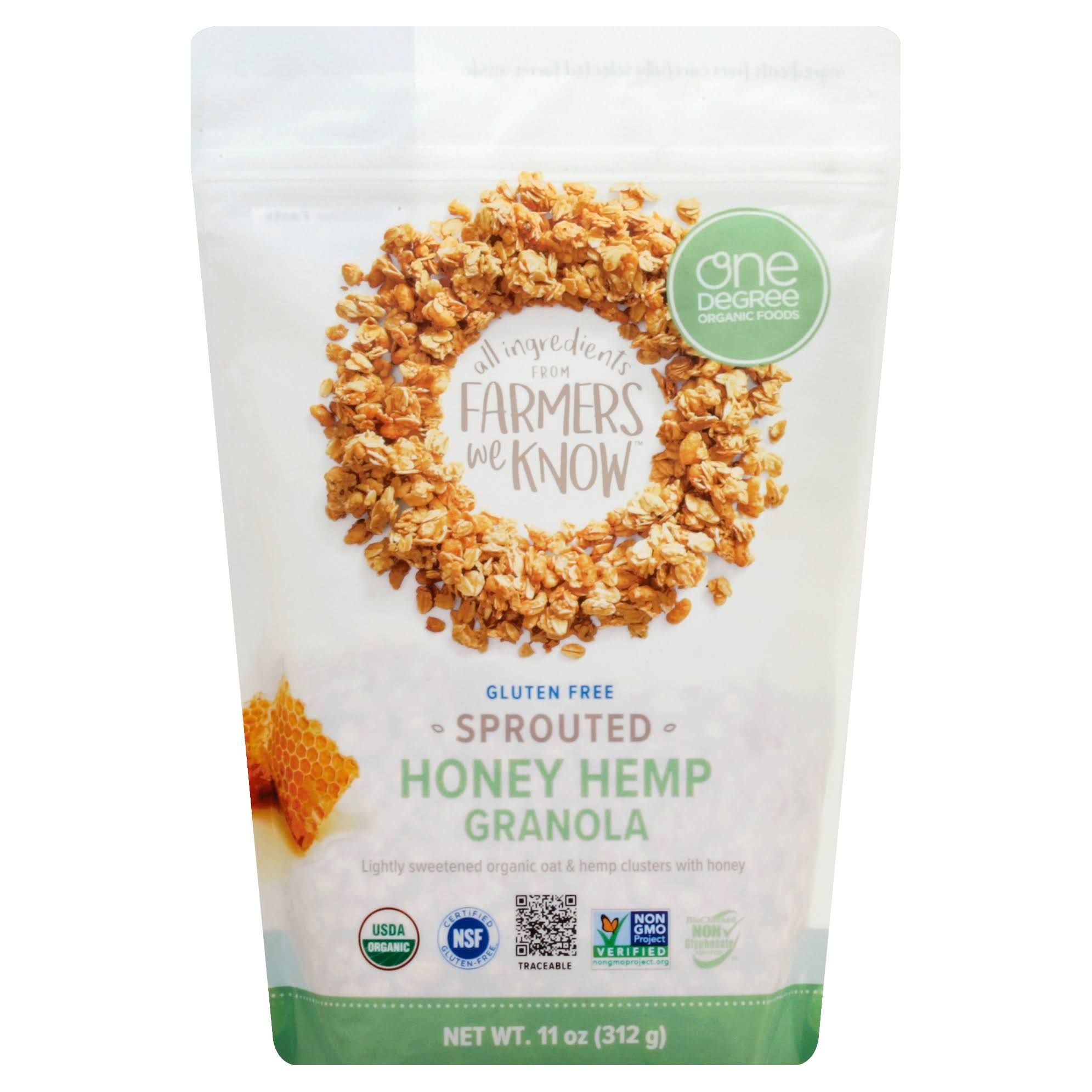 One Degree Organic Foods Sprouted Oat Hemp Granola - Honey, 11oz
