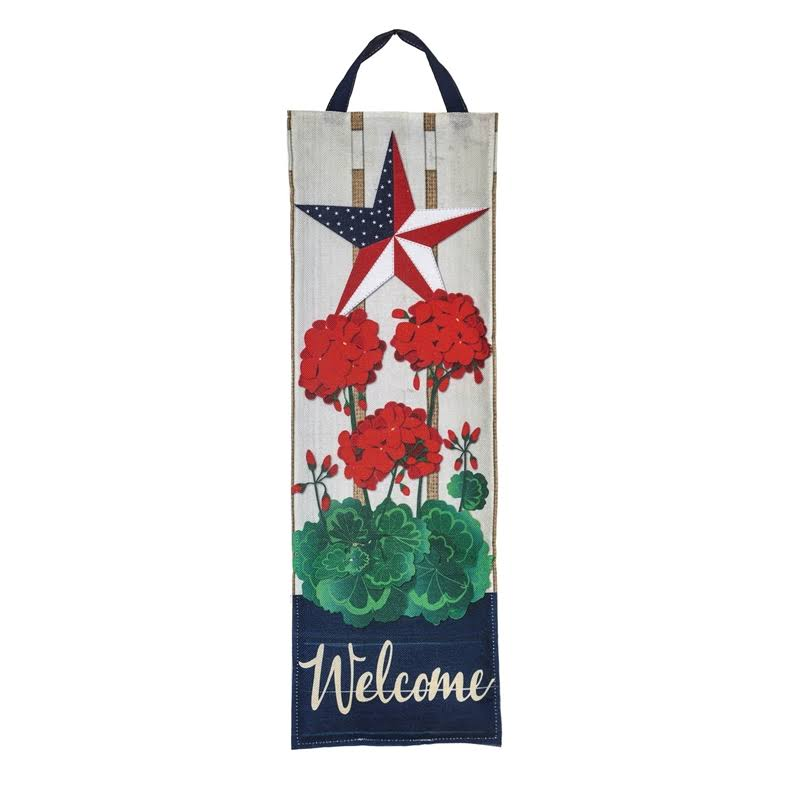 Evergreen Door Hanger 'Welcome' Patriotic Geranium Garden Stake One-Size