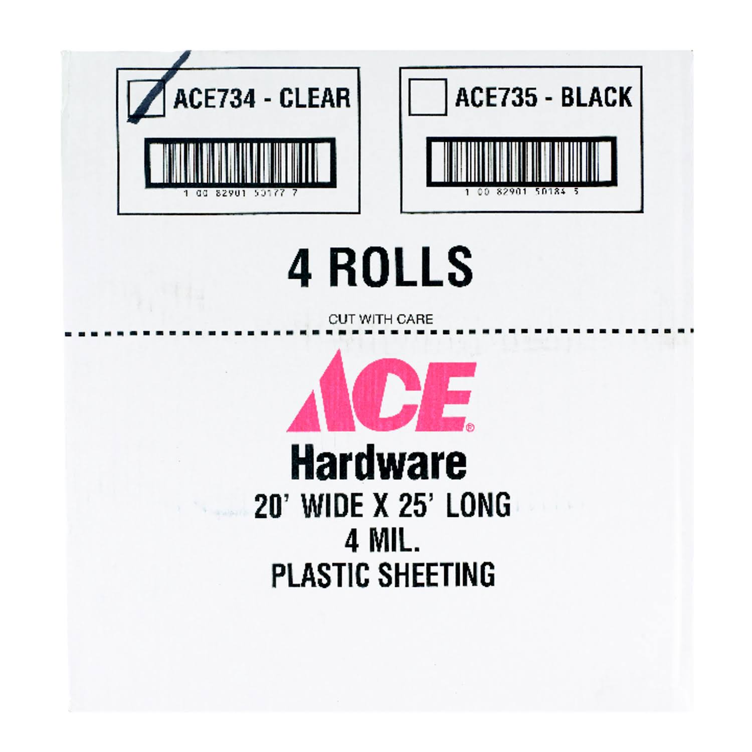 Ace 20' x 25' x 4 Mil Polyethylene Plastic Sheeting Clear