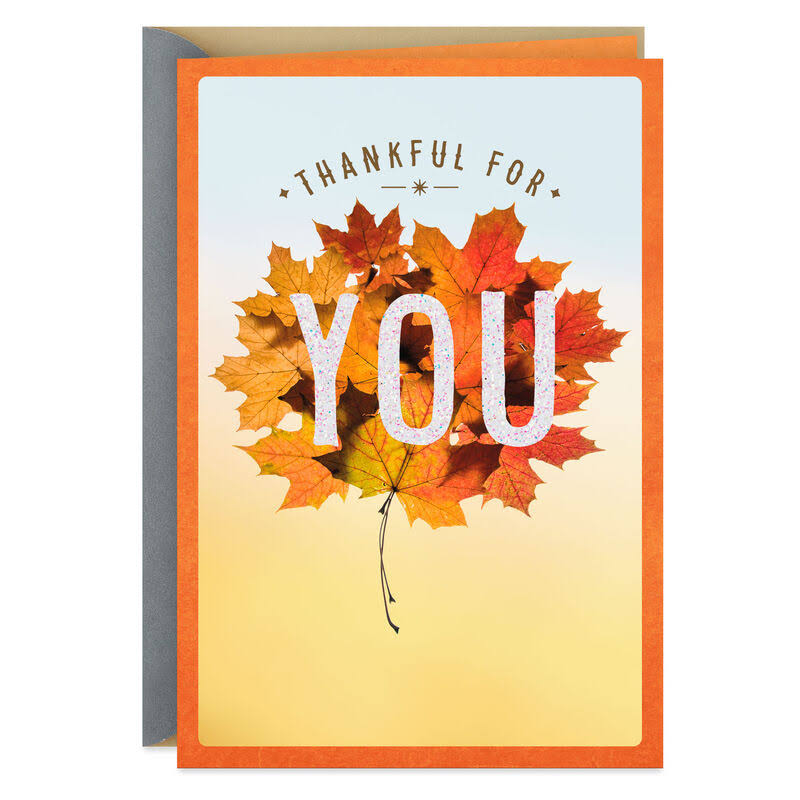 Thankful for You Fall Leaves Thanksgiving Card