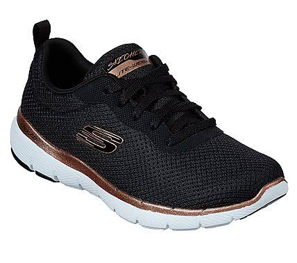 Skechers Women's Flex Appeal Insight 3 Shoes - Black/Rose Gold, 9.5 USW