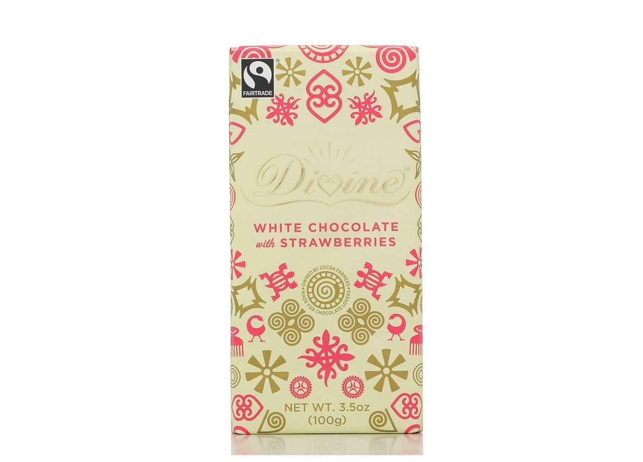 Divine White Chocolate Bar - with Strawberry, 3.5oz