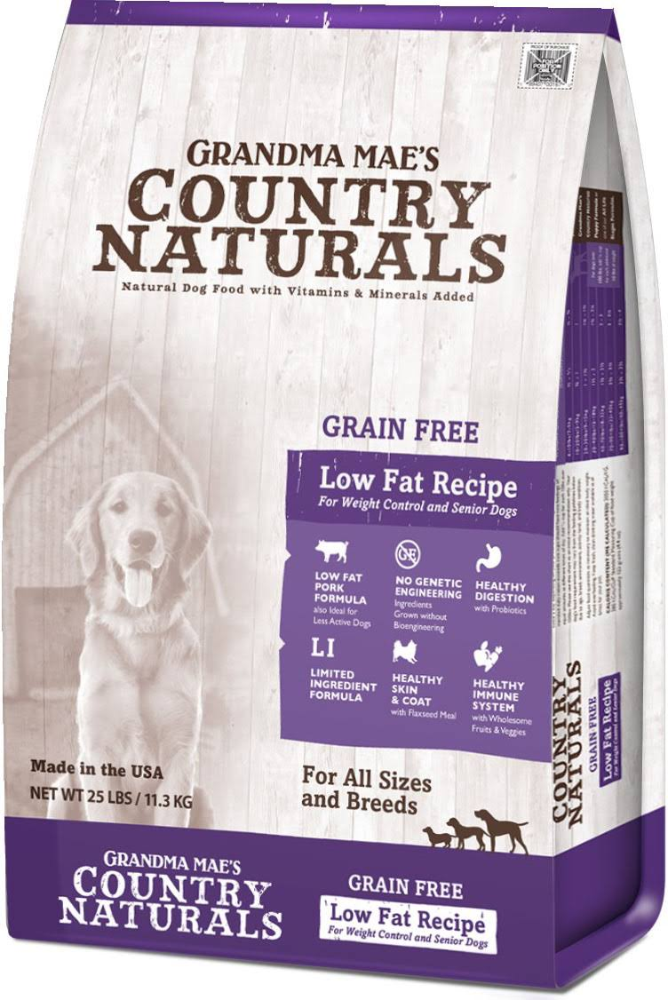 Grandma Mae S Country Nat Grain Free Low Fat Dog Food 25 lb