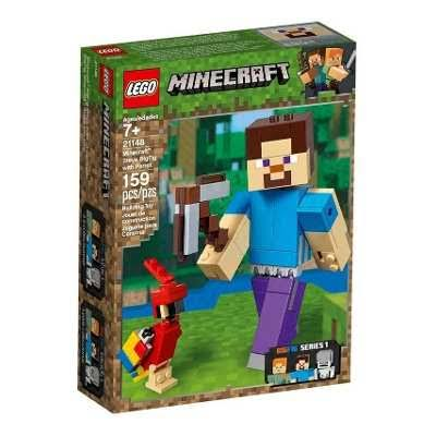 Lego Building Toy, Minecraft, Steve BigFig with Parrot