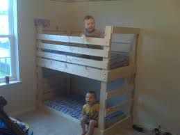 Wood Bunk Beds Plans by Ana White Crib Size Mattress Toddler Bunk Beds Diy Projects