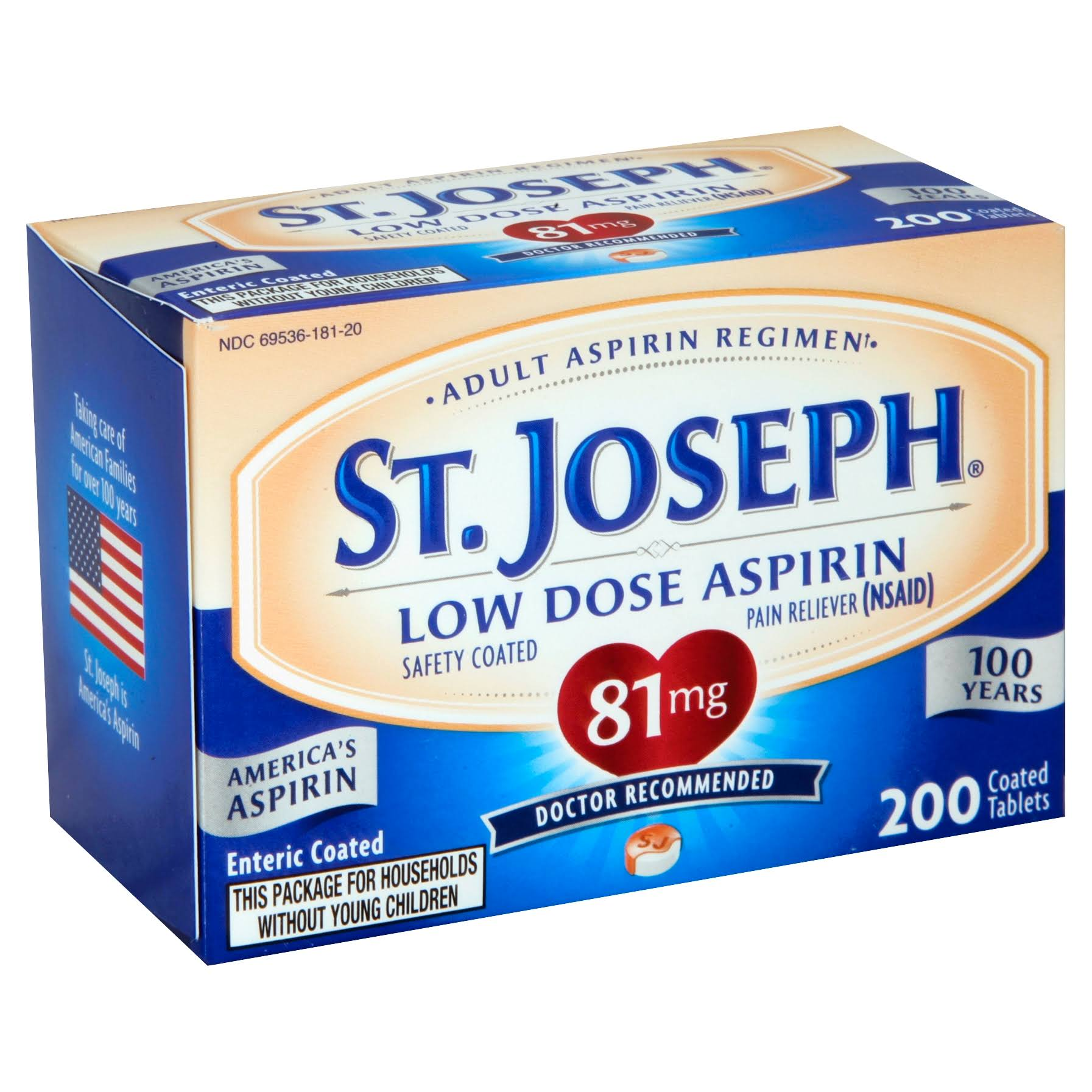 St. Joseph Pain Reliever Enteric Coated Tablets - 81mg, 200 Count