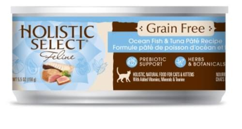 Holistic Select Grain Free Ocean Fish and Tuna Canned Cat Food - 5.5oz