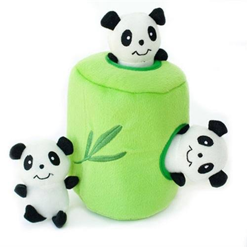 Zippy Paws Burrow Squeaky Hide And Seek Plush Dog Toy - Panda 'N Bamboo