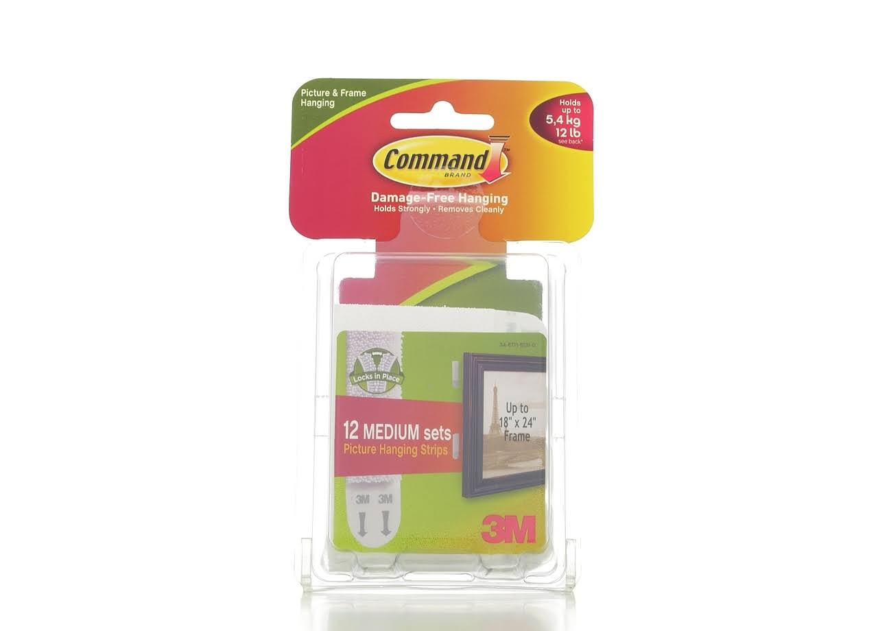 3M Command Medium Sets Picture Hanging Strips - 12 Pack