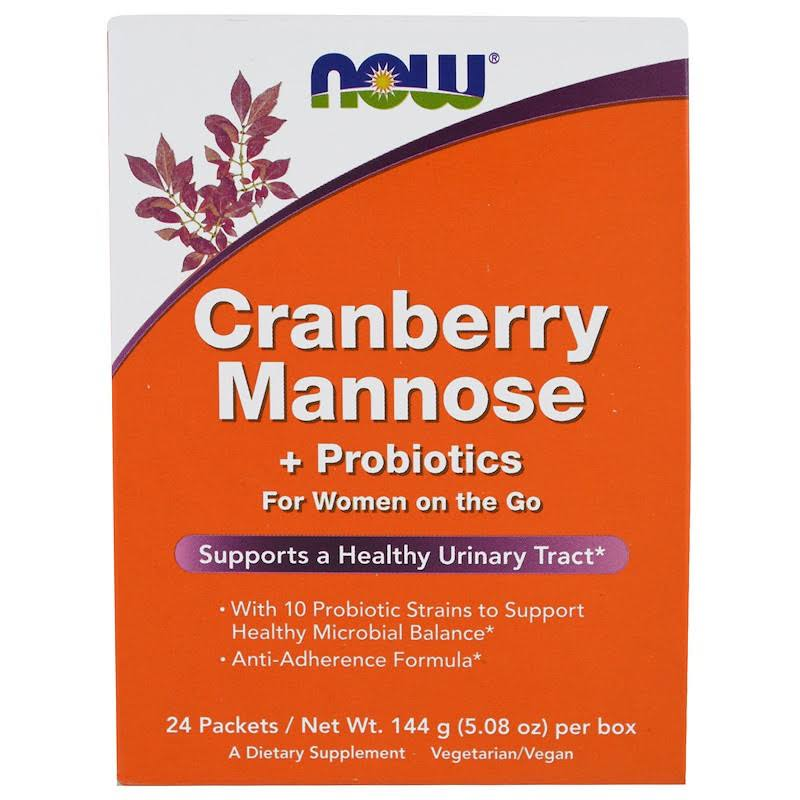 Now Foods Cranberry Mannose Plus Probiotics - 24 Packets, 144g