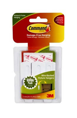 3M Command Plastic Picture Hanging - White, 3 Pack