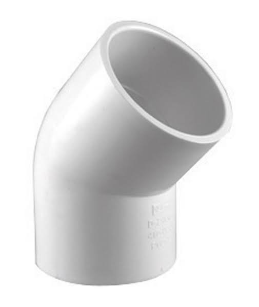 "Charlotte PVC Schedule 40 Pipe Elbow - 1"", 45 Degrees, White"