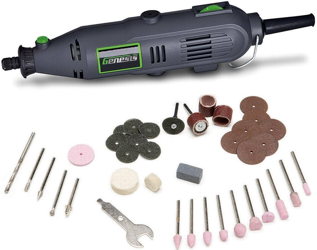 Genesis Variable Speed Rotary Tool - with 40 Accessories, Grey, 120V
