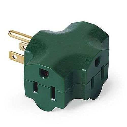 Master Electrician 3 Outlet Heavy Duty Grounded Indoor Adaptor - Green