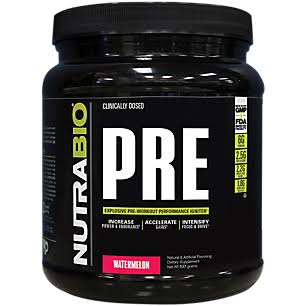 NutraBio Pre Workout Performance Powder - Watermelon, 20 Servings
