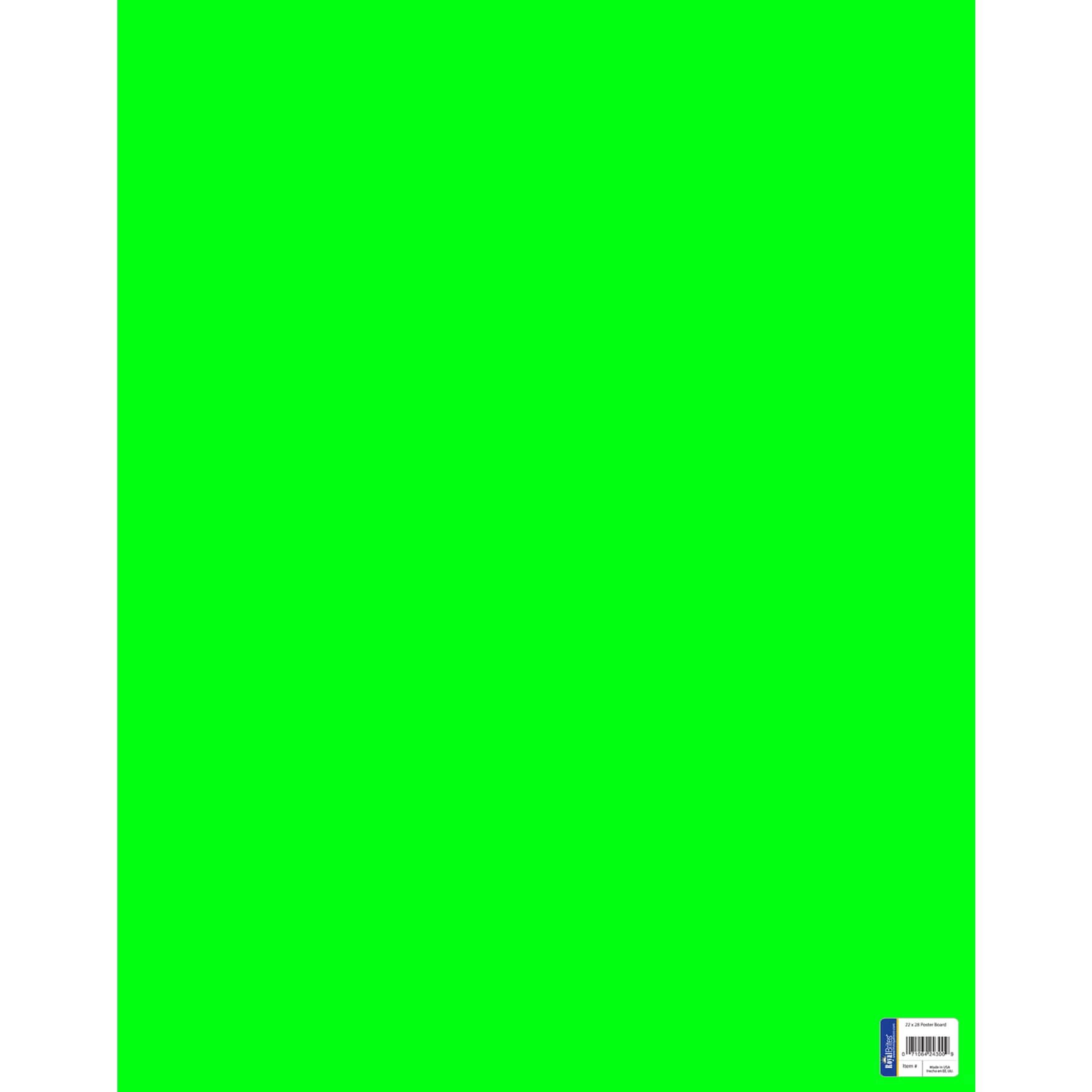 "Royal Consumer Poster Board - Fluorescent Green, 22"" x 28"", Pack of 25"