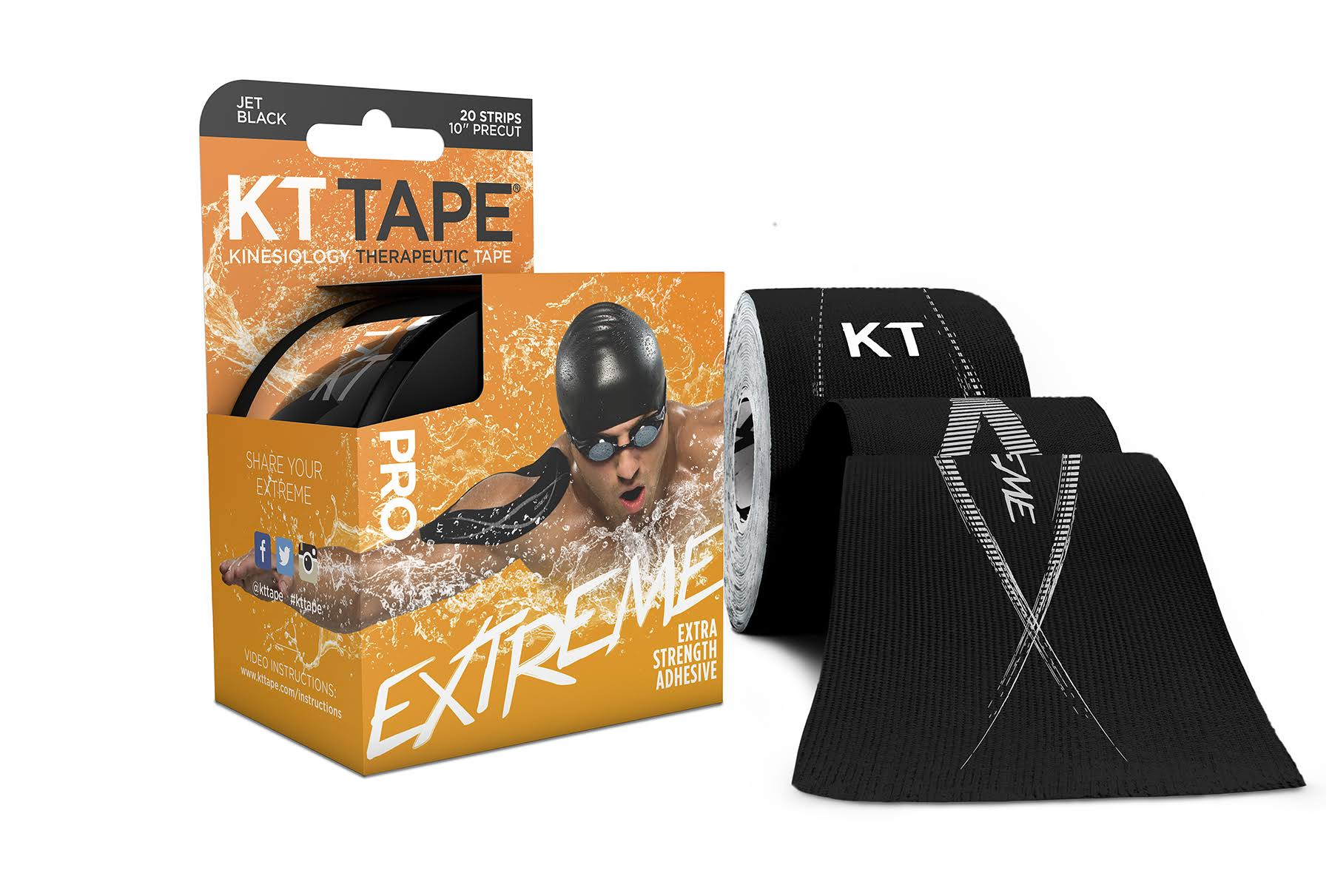 KT Tape Pro Extreme­Therapeutic Elastic­ Kinesiology Tape - 20 Pre-Cut, ­25cm, Black
