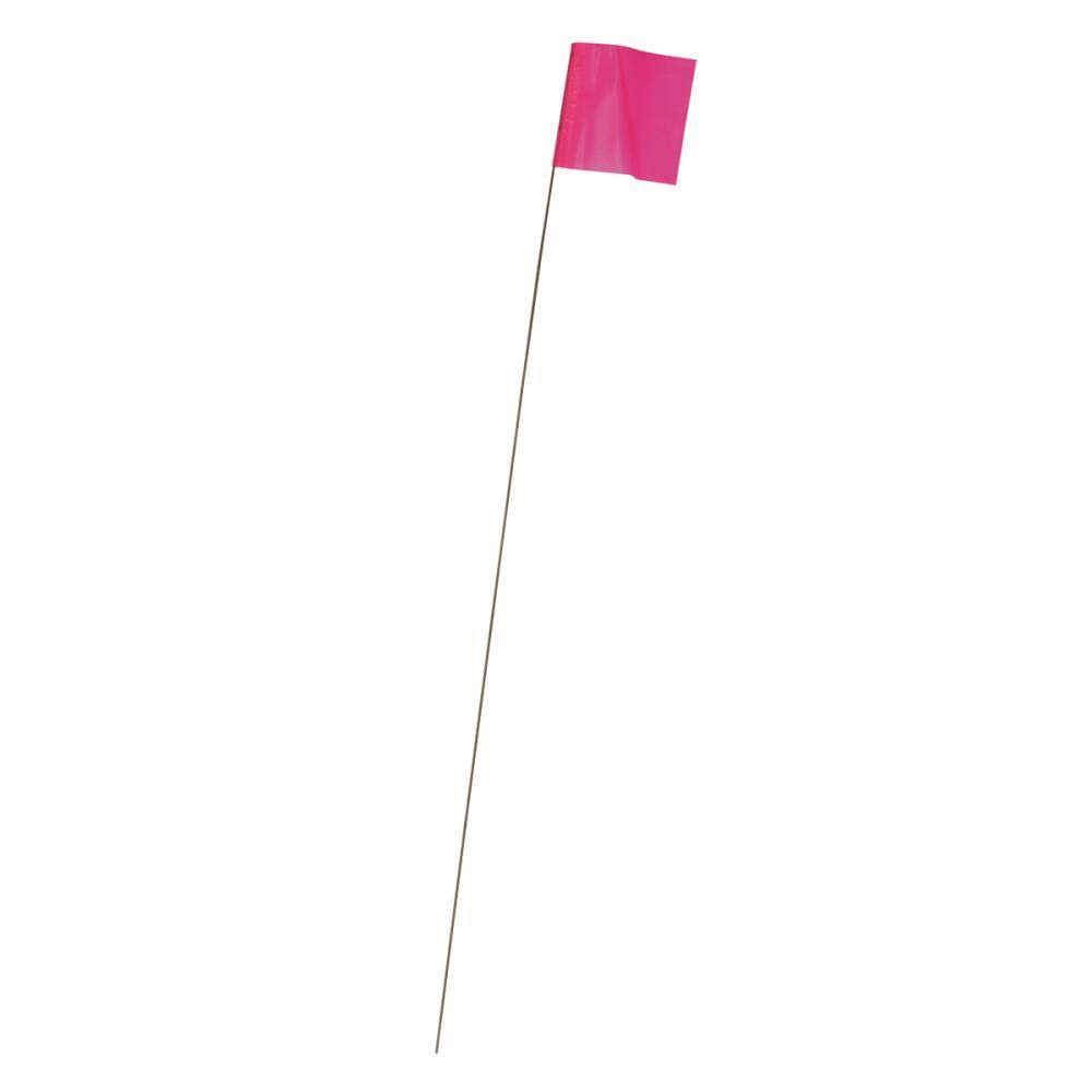 "Irwin Tools Stake Flags - 2.5"" x 3.5"" x 21"", Glo Pink, 100pk"