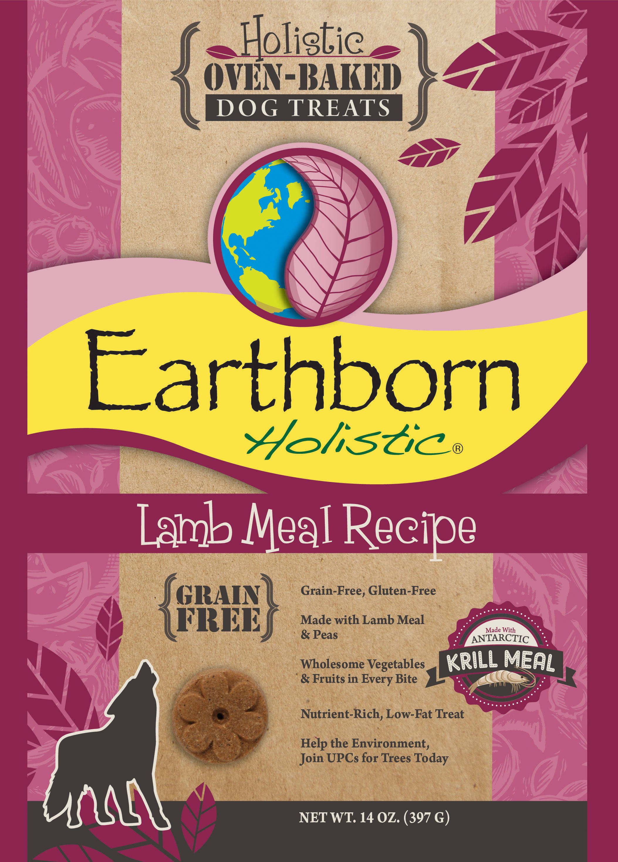 Earthborn Holistic Grain Free Oven Baked Biscuits Lamb Meal Recipe Dog Treats - 14 oz