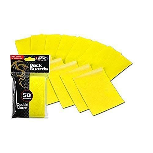 BCW Deck Guards Double Matte Card Sleeves - Yellow, Standard, x50