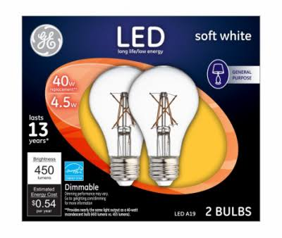 GE Light Bulbs, LED, Soft White, 4.5 Watts, 2 Pack - 2 bulbs