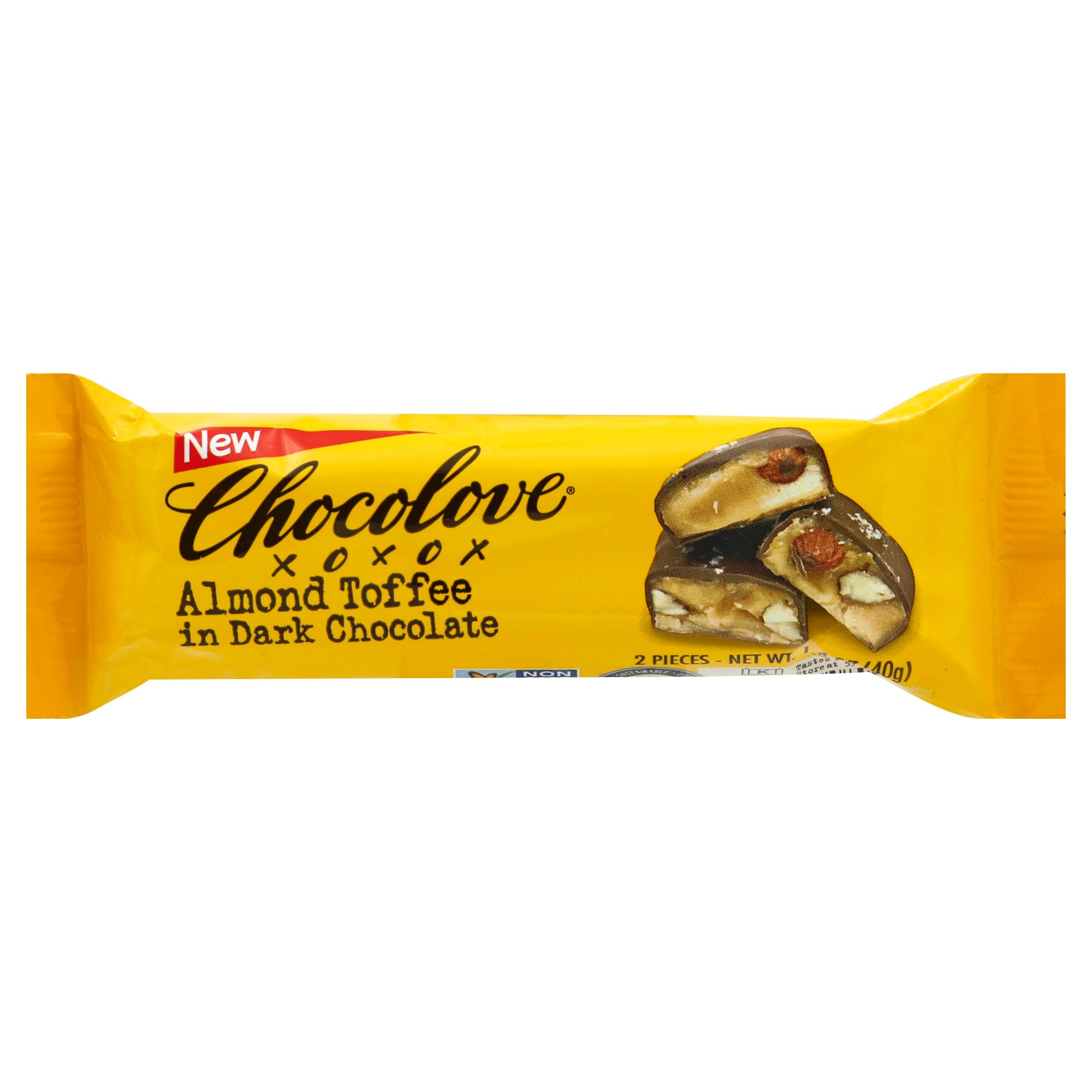 Chocolove Almond Toffee, in Dark Chocolate - 2 pieces, 1.4 oz