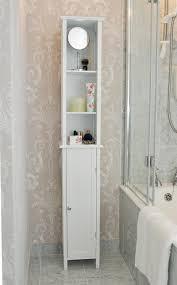 Tall Narrow Linen Cabinet With Doors by Bathroom Ceiling To Floor Brown Varnished Mahogany Wood Bathroom