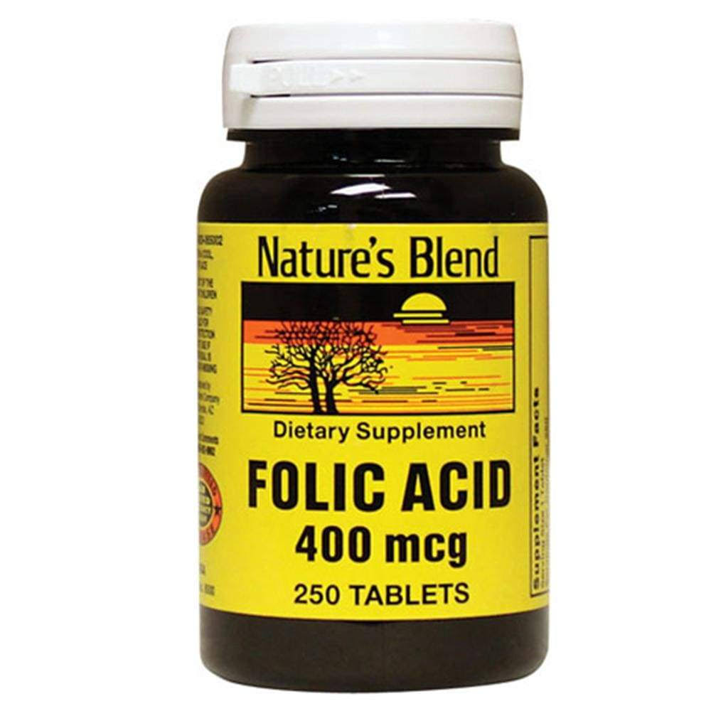 Nature's Blend Folic Acid Vitamins - 400mcg, 250ct