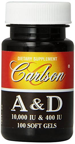 Carlson Laboratories Vitamin A and D Supplement - 10000/400 IU, 100 Softgels
