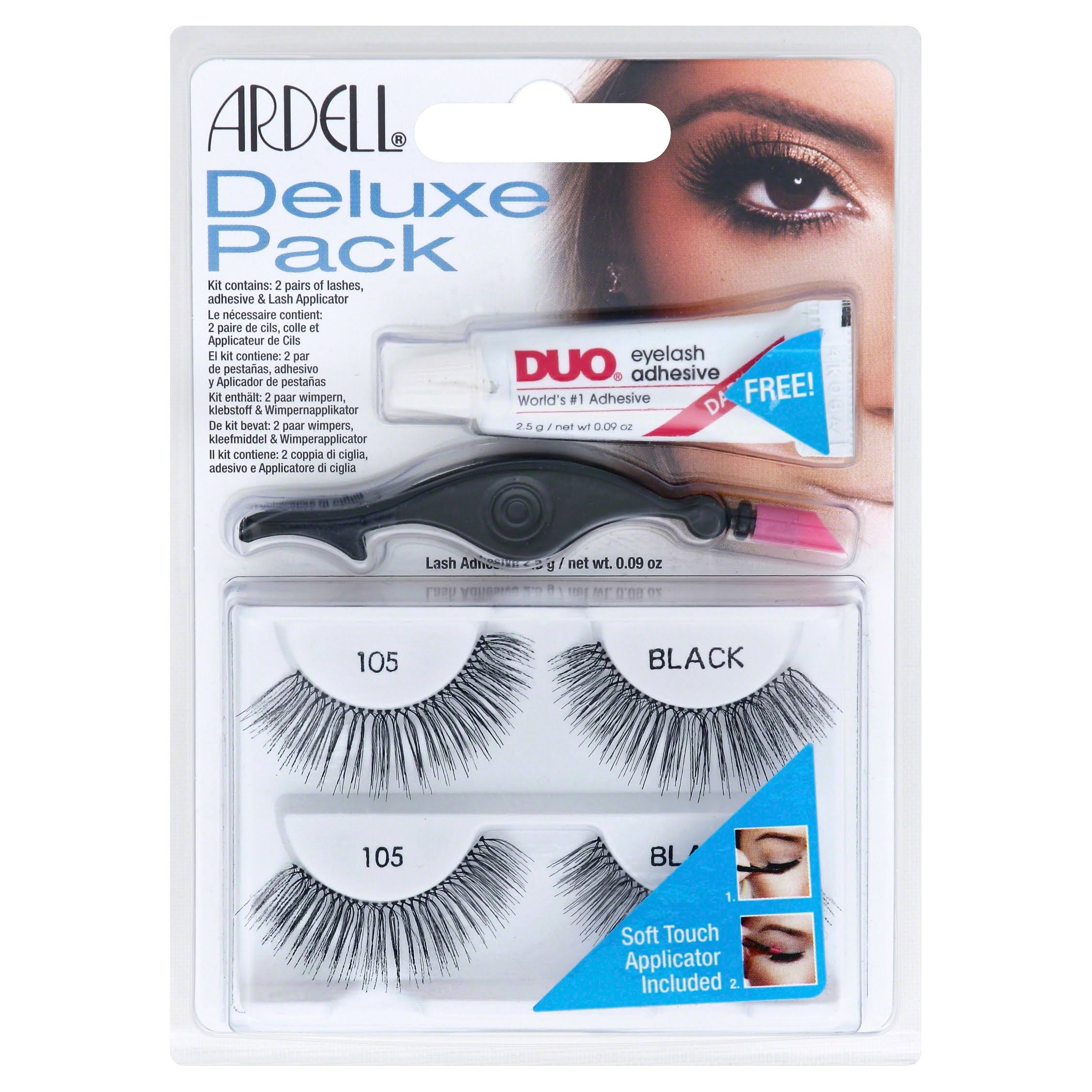 Ardell Deluxe Pack Lashes - with Adhesive, 105 Black